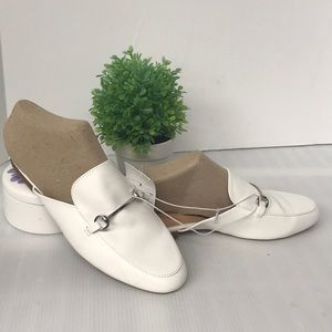 Shoes - White slide-on Mules closed toe Flats